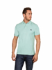 model wearing high quality mint polo shirt