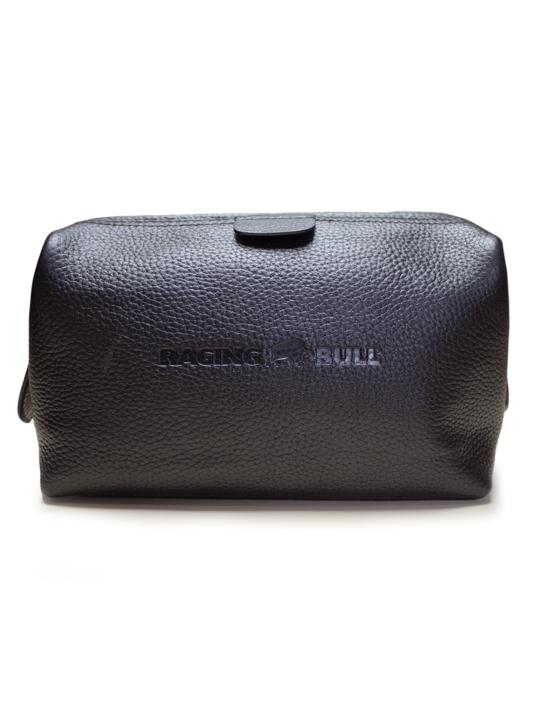 Raging Bull Leather Wash Bag - Black