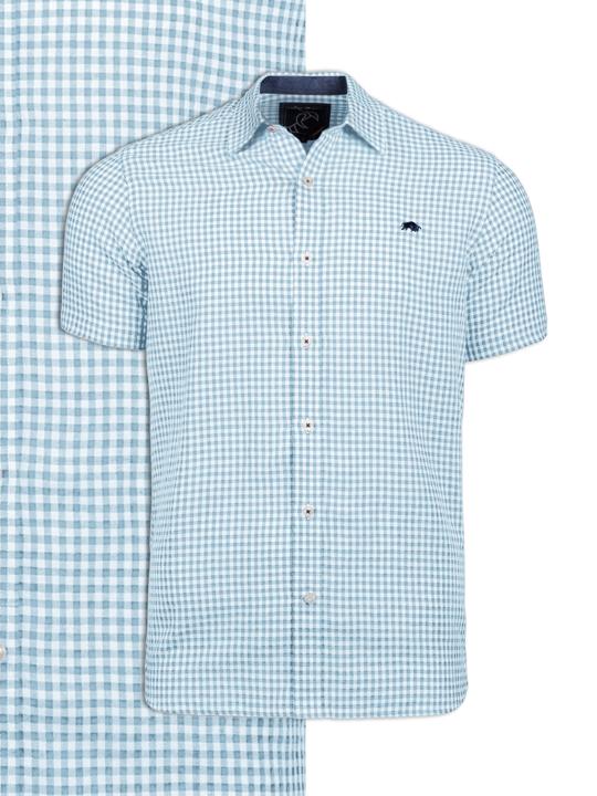 Raging Bull Short Sleeve Linen Look Gingham Shirt - Sky Blue