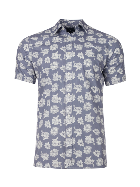 Raging Bull Short Sleeve Floral Shirt - Chambray