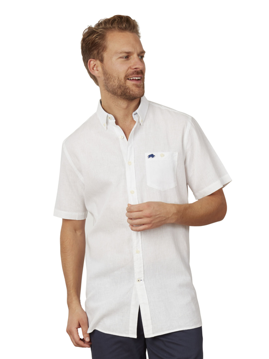 Raging Bull Big & Tall Short Sleeve Linen Shirt - White