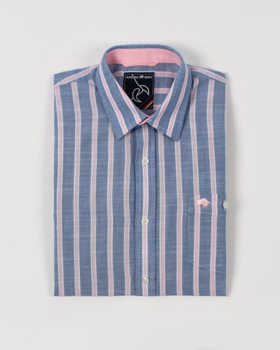 Raging Bull Big & Tall Short Sleeve Stripe Linen Shirt - Mid Blue