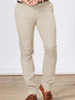 model wearing high quality beige chino trousers