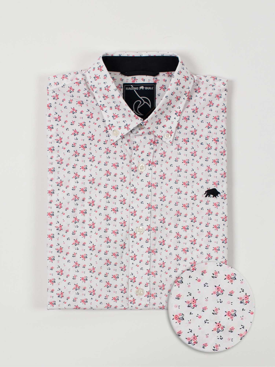 Raging Bull Short Sleeve Micro Rose Print Shirt - Pink