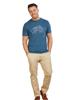 Model wearing Blue Raging Bull T-Shirt with large logo