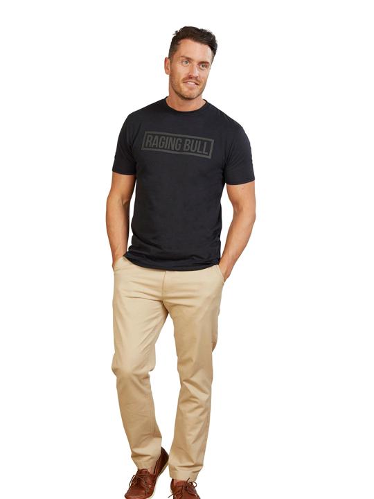 Model wearing Raging Bull T-Shirt in black