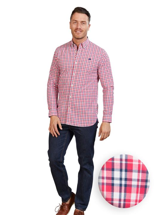 Raging Bull Long Sleeve Multi Check Shirt - Vivid Pink