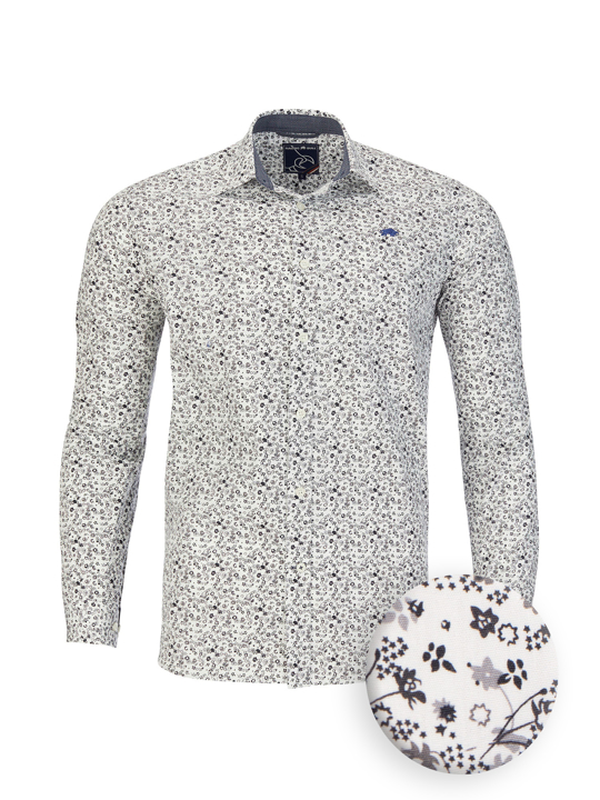 Raging Bull Big & Tall Long Sleeve Floral Print Poplin Shirt - White