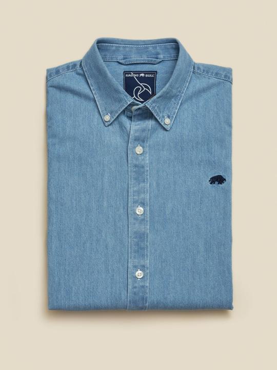 Raging Bull Big & Tall Long Sleeve Light Washed Denim Shirt - Denim