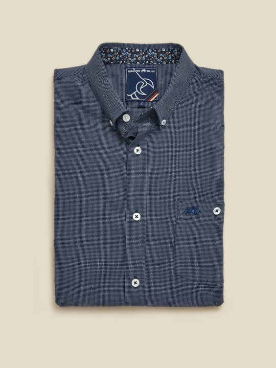 Raging Bull Big & Tall Long Sleeve Geometric Dobby Shirt - Navy