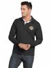 model wearing high quality black long sleeve rugby shirt