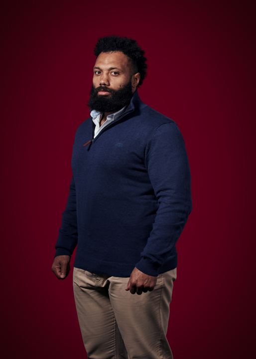 Raging Bull Big & Tall - Knitted Cotton/Cashmere Quarter Zip - Navy
