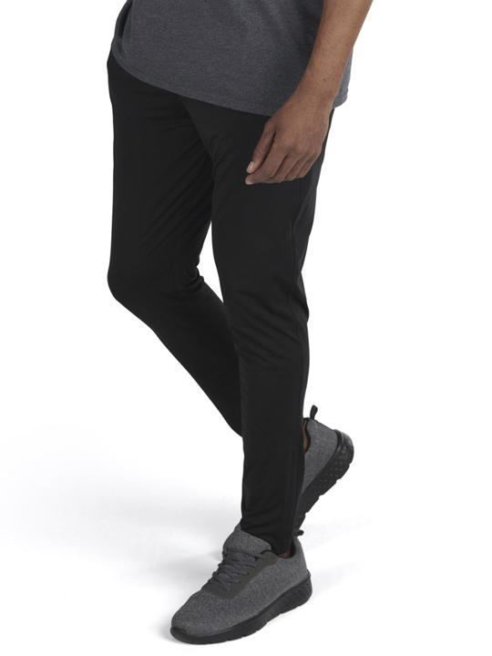 model wearing high quality black slim jogger
