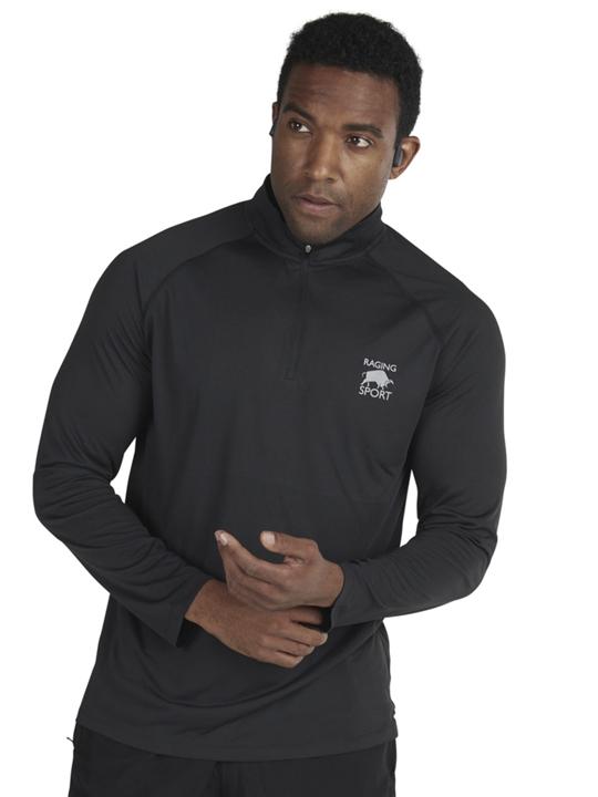 model wearing high quality long sleeve black quarter zip