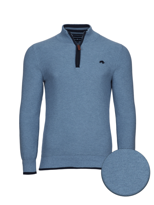 high quality blue knit quarter zip jumper