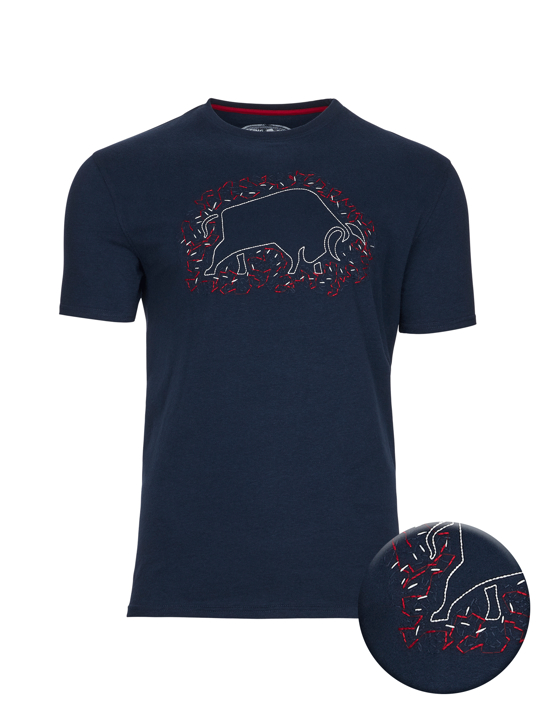 high quality navy embroidered t-shirt