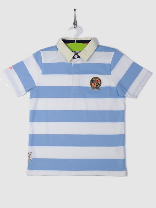 Raging Bull Short Sleeve Stripe Rugby - Sky Blue