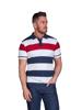 model wearing high quality striped white polo shirt