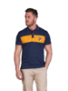 model wearing high quality contrast panel navy polo shirt