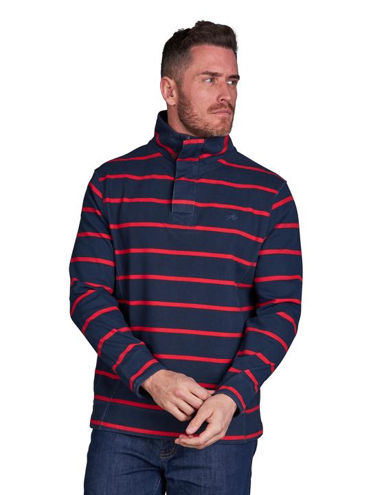 model wearing high quality red stripe navy quarter zip sweat