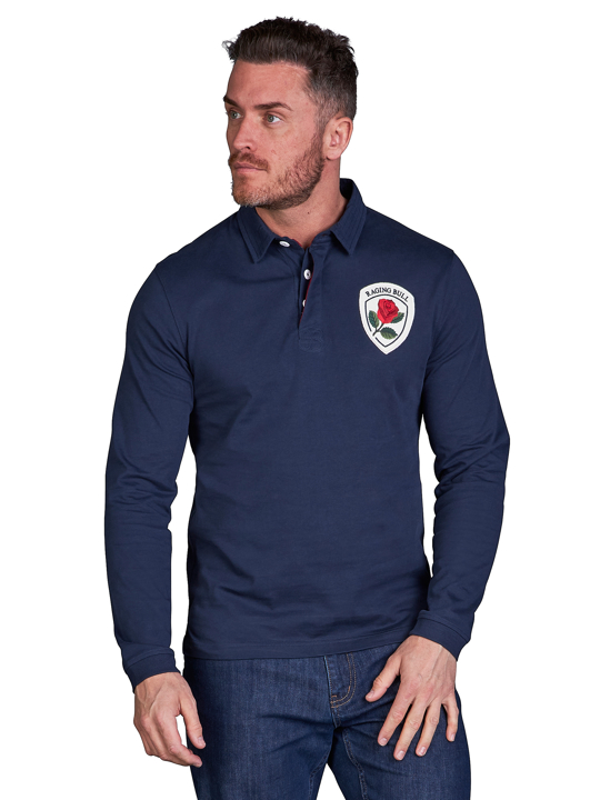 model wearing high quality crested navy rugby shirt