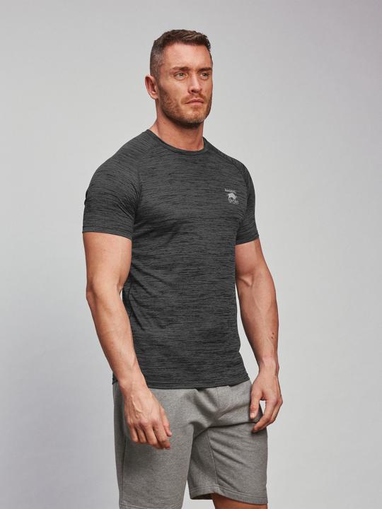 model wearing high quality grey performance t-shirt