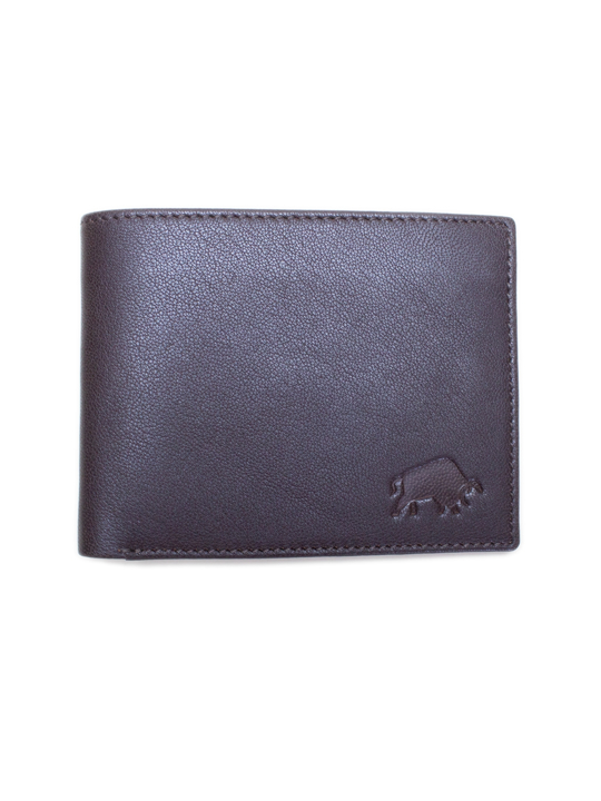 Raging Bull Leather Card Wallet - Brown