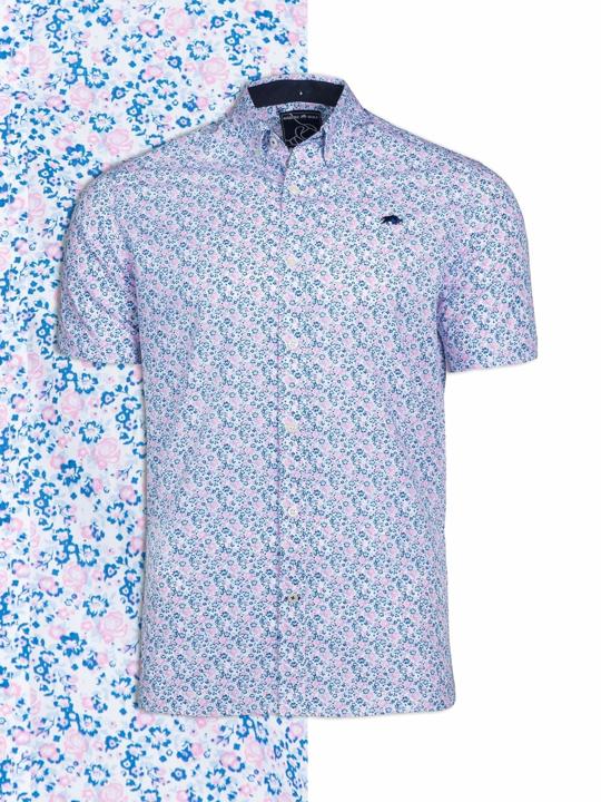 Raging Bull Big & Tall - Short Sleeve Micro Floral Print Shirt - Pink