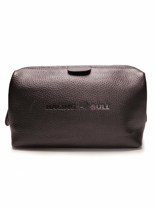Raging Bull Leather Wash Bag - Brown