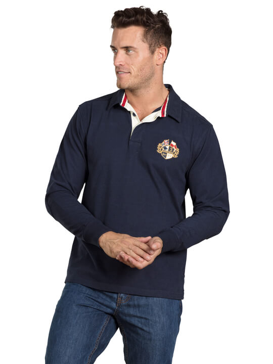 Raging Bull Long Sleeve Signature Heritage Rugby - Navy