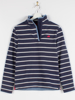 Raging Bull Yarn Dyed Stripe Quarter Zip  - Navy