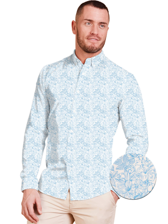 Raging Bull Long Sleeve Floral Print Shirt - White