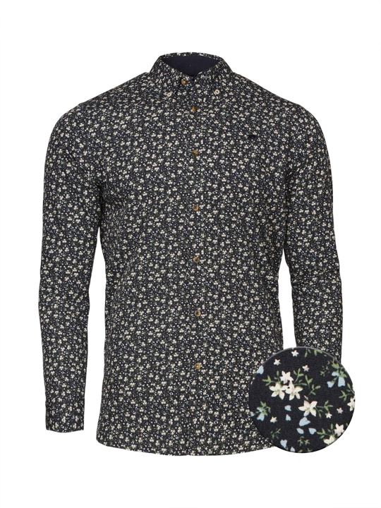 Raging Bull Long Sleeve Ditzy Floral Shirt - Navy