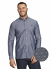 Raging Bull Long Sleeve Chambray Dobby Shirt - Denim Blue