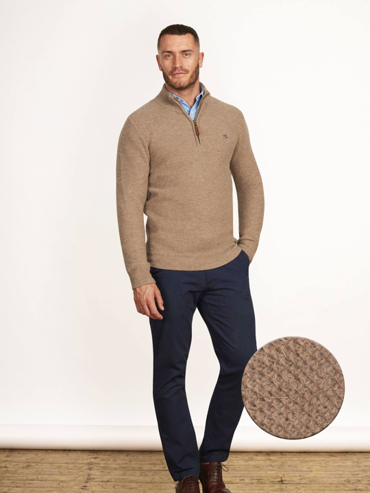 Raging Bull Big & Tall - Honeycomb Knit Quarter Zip - Biscuit