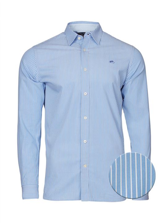 Raging Bull Big & Tall - Long Sleeve Pinstripe Poplin Shirt - Sky Blue