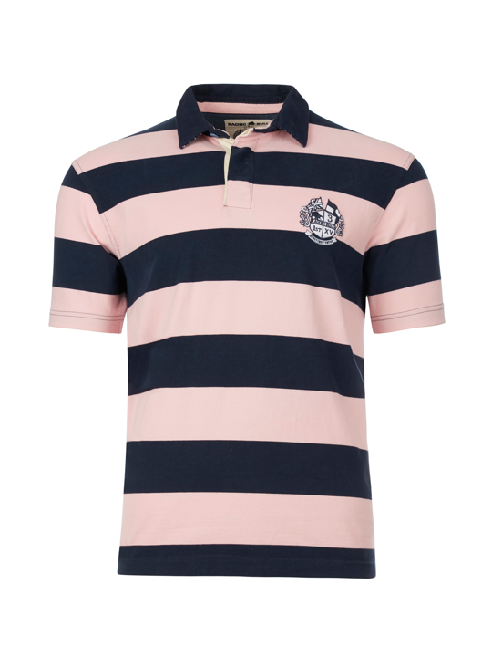 Raging Bull Short Sleeve Stripe Rugby - Pink