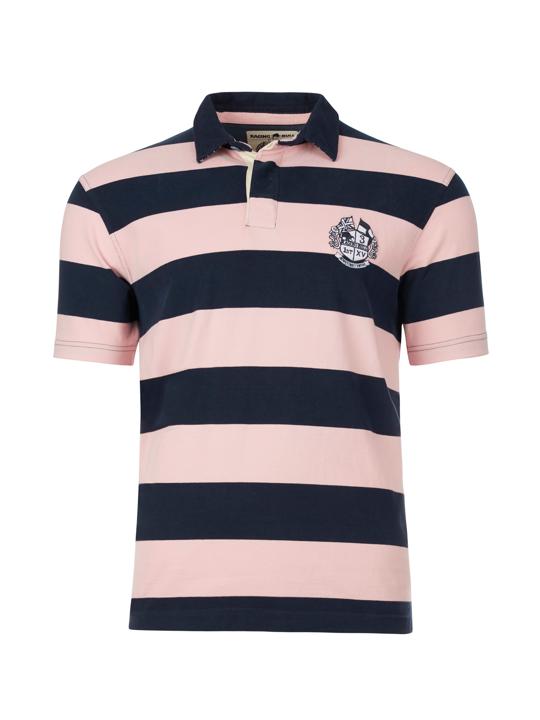 Raging Bull Big & Tall Short Sleeve Stripe Rugby - Pink