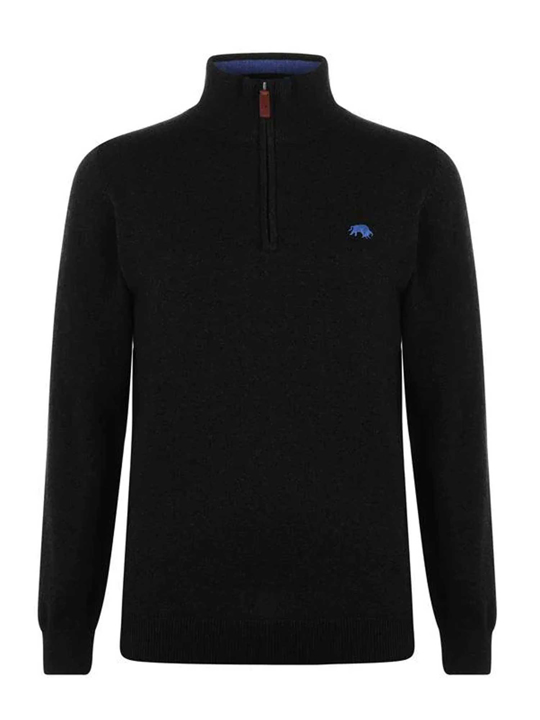 Raging Bull Knitted Cotton/Cashmere Quarter Zip - Black