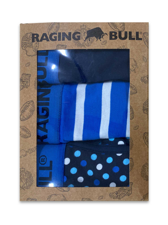 Raging Bull Cotton Boxers Three Pack - Cobalt