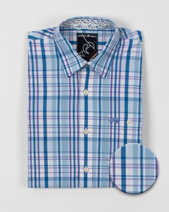Raging Bull Long Sleeve Check Shirt - Sky Blue