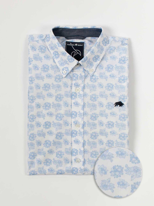 Raging Bull Big & Tall Short Sleeve Floral Print Shirt - White