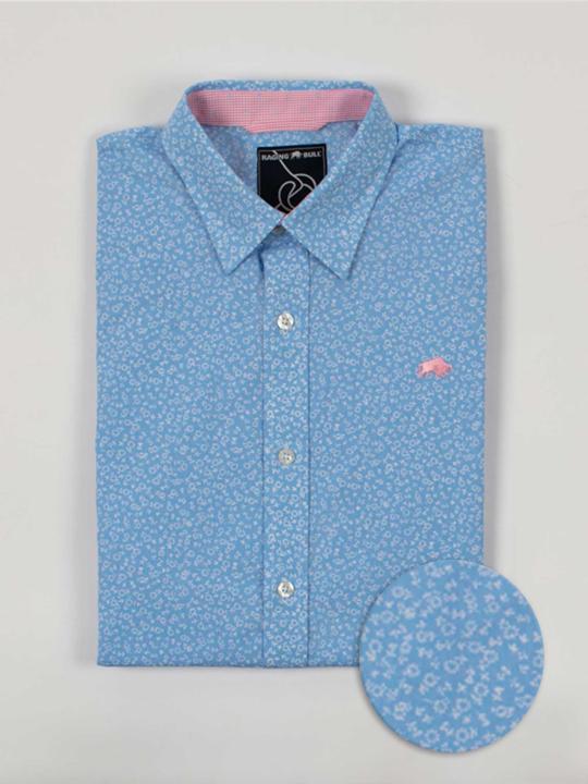 Raging Bull Big & Tall Short Sleeve Micro Daisy Print Shirt - Sky Blue