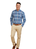 Raging Bull Long Sleeve Overcheck Oxford Shirt - Mid Blue