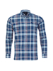 Raging Bull Big & Tall Long Sleeve Overcheck Oxford Shirt - Mid Blue